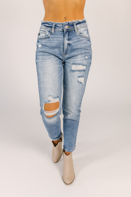 Frayed Waist Distressed Mom Jeans - Medium Wash