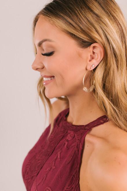 Beaded Hoop Earrings - Natural/Gold