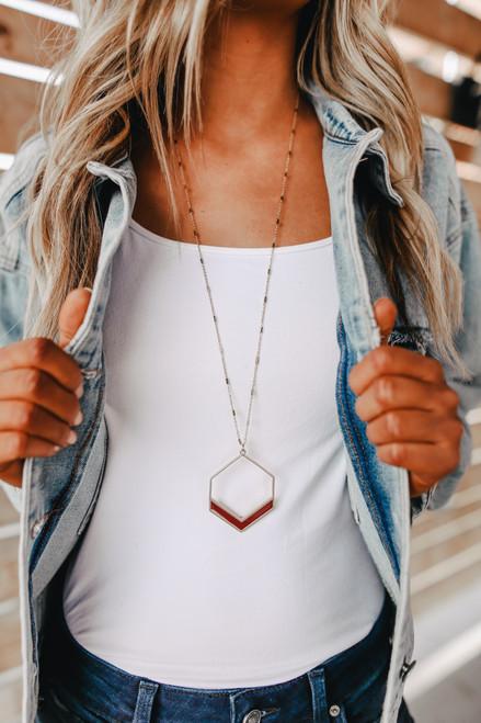 Geometric Pendant Necklace - Maroon/Gold
