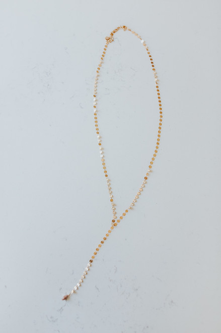 Dotted Y Gold Necklace