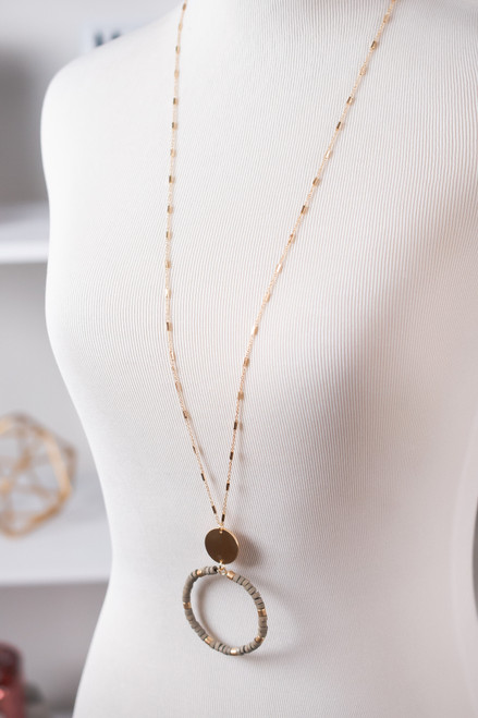 Beaded Pendant Necklace - Grey/Gold