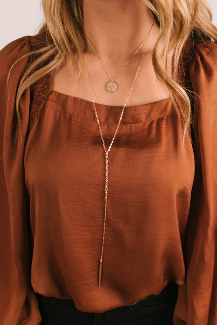 Layered Druzy Lariat Necklace - Pink/Gold