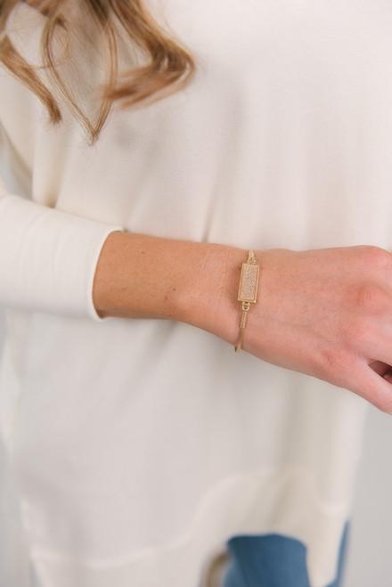 Druzy Stone Bangle Bracelet - White/Gold