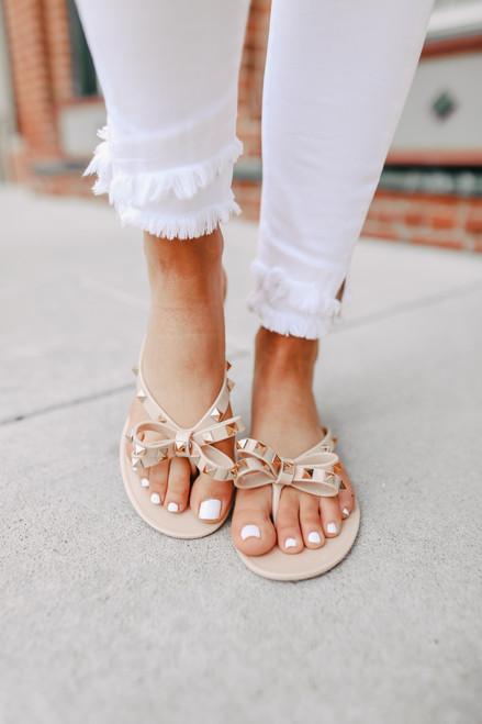 Studded Nude Flip Flops