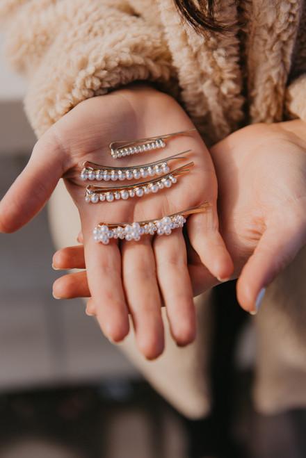 Pearl Hair Clip Set - Gold