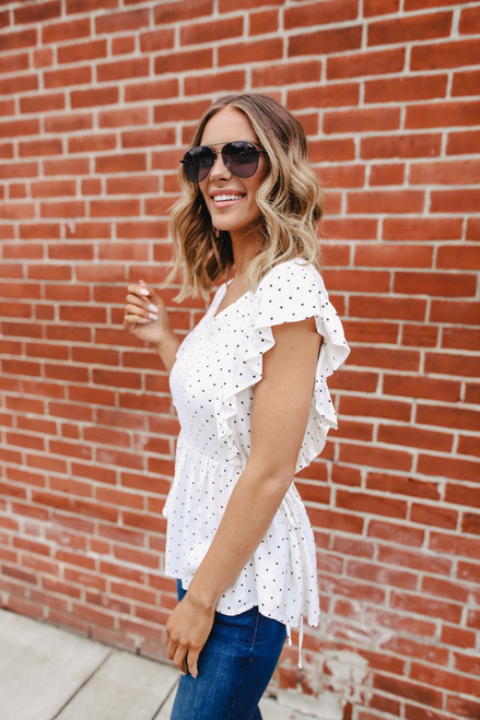 V-Neck Ruffle Dotted Blouse