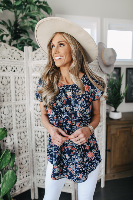English Cafe Navy Floral Blouse