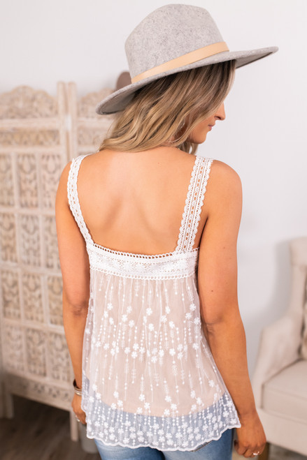 Square Neck Ivory Lace Top
