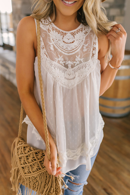 Crochet Lace Cream Dotted Blouse