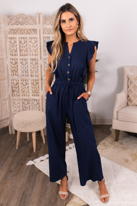 Button Down Navy Ruffled Jumpsuit