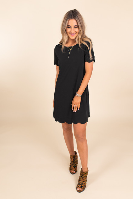 Cover Girl Scalloped Black Shift Dress