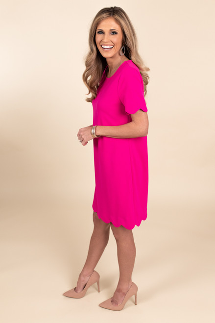 Cover Girl Scalloped Hot Pink Shift Dress