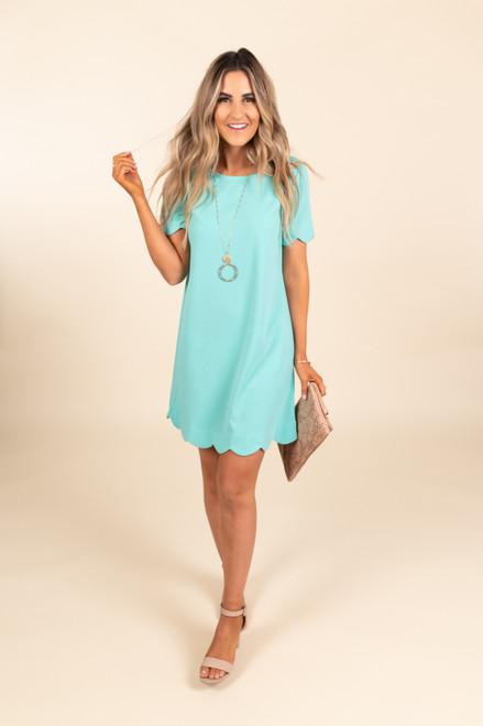 Cover Girl Scalloped Mint Shift Dress