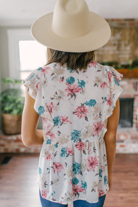 V-Neck Ivory Floral Empire Blouse