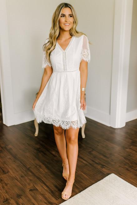 Perfect Match Ivory Scalloped Lace Dress