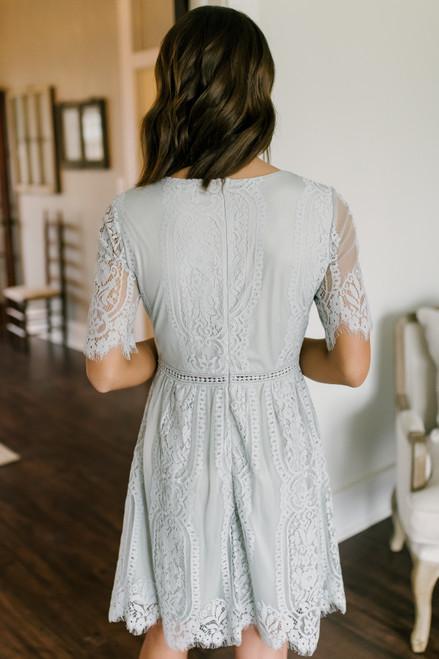 Perfect Match Grey Scalloped Lace Dress