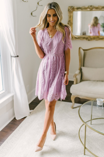 Perfect Match Mauve Scalloped Lace Dress