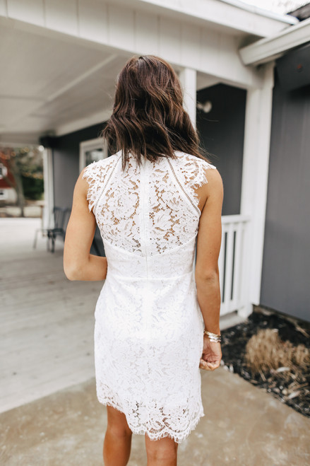 High Neck Ivory Lace Dress