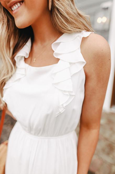 Ruffle Strap Tie Back Ivory Dress