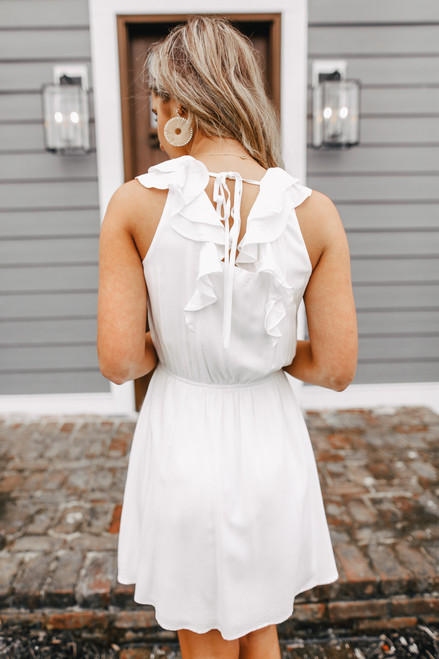Ruffle Strap Tie Back Ivory Dress