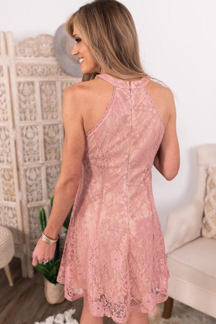 Last Kiss Halter Mauve Lace Dress