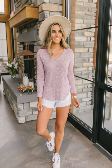 Everly V-Neck Two Tone Lavender Top