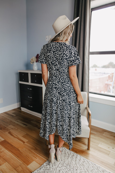 Everly Short Sleeve Black Dotted Wrap Dress