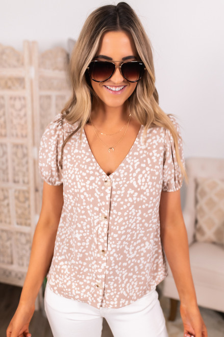Everly Button Down Natural Dotted Blouse