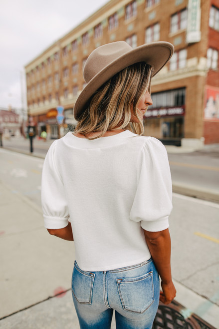 Everly Button Down White Brushed Top
