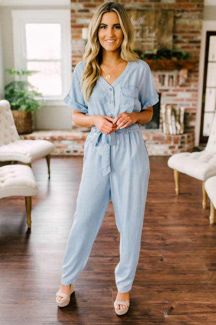 Everly Short Sleeve Chambray Jumpsuit