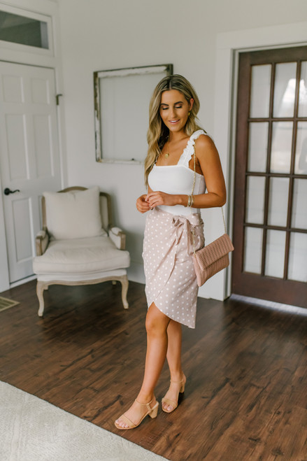 Everly Taupe Dotted Wrap Skirt