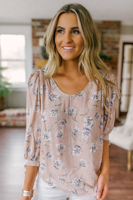 Everly Tie Sleeve Mauve Floral Blouse