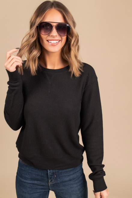 Brushed Thermal Pullover - Black