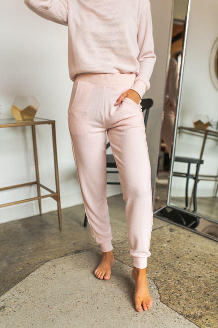 Brushed Contrast Thermal Joggers - Pink