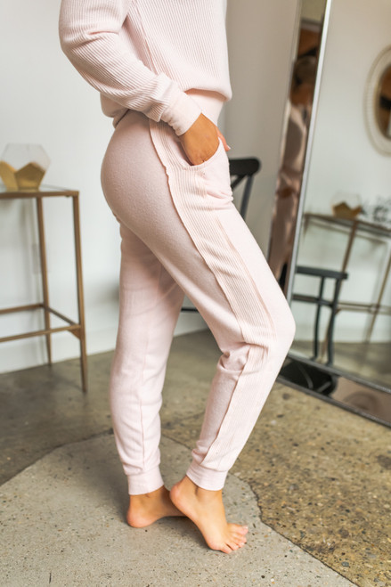 Brushed thermal joggers pink