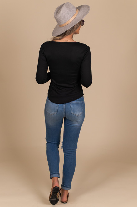 Long Sleeve Black Henley Tee