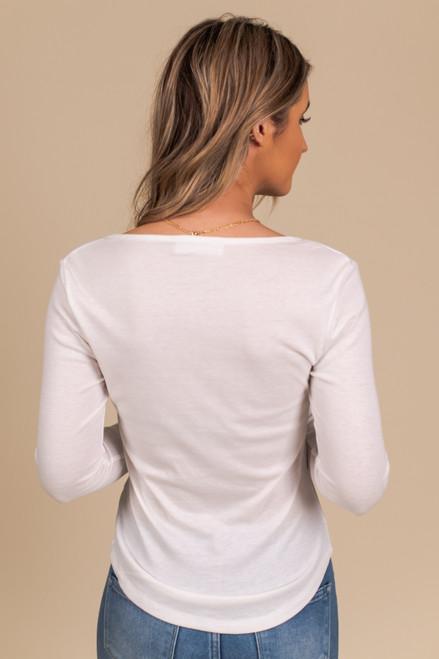 Long Sleeve White Henley Tee