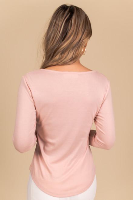 Long Sleeve Pink Henley Tee
