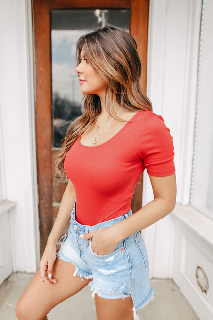 Scoop Neck Red Bodysuit