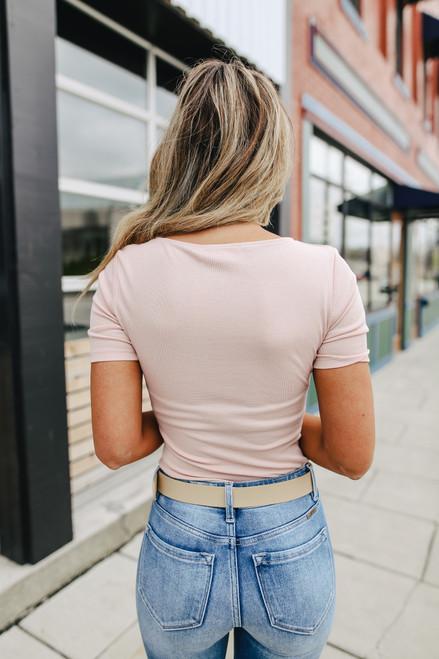 Scoop Neck Pink Bodysuit