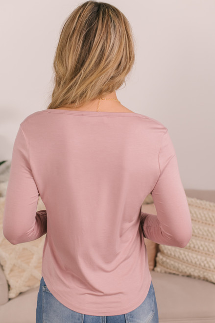 Long Sleeve Scoop Neck Dusty Pink Tee