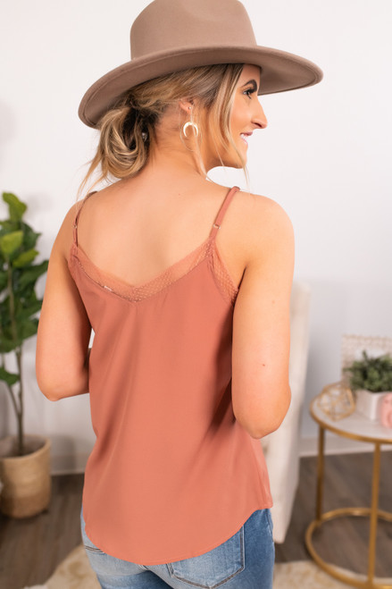 V-Neck Salmon Lace Detail Tank
