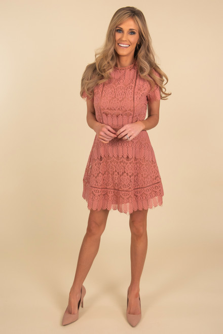 Mock Neck Marsala Scalloped Lace Dress