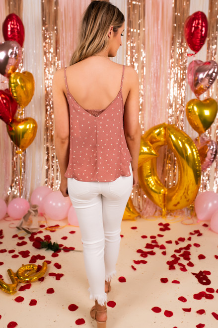 V-Neck Lace Detail Pink Dotted Tank