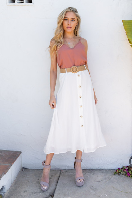 Button Down Belted White Midi Skirt