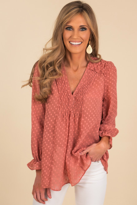 V-Neck Dotted Pintuck Blouse
