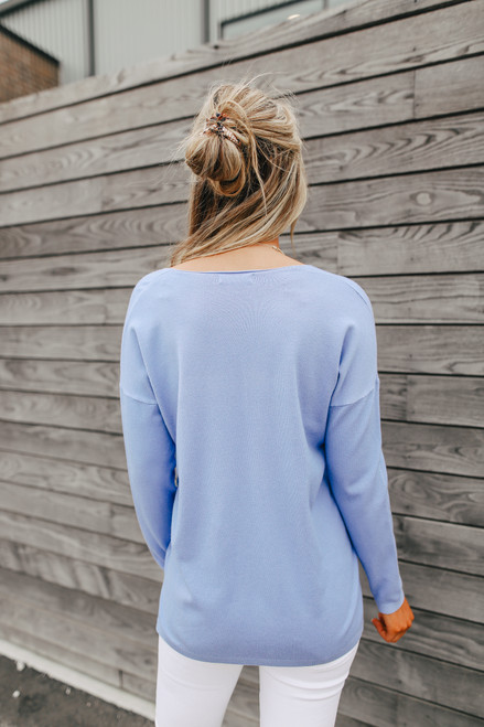 Lightweight V-Neck Periwinkle Sweater
