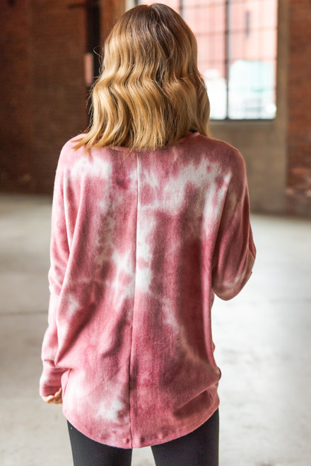 Soft Brushed Rose Tie Dye Pullover