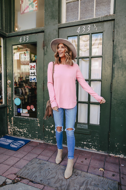 Lightweight Boatneck Pink Soft Sweater