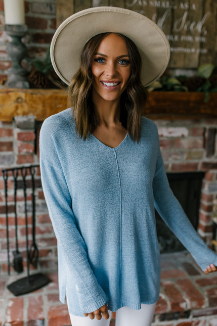 V-Neck Seam Detail Light Blue Sweater